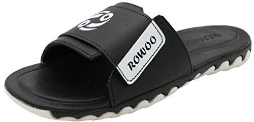 Rowoo, Herren Peep Toes Schwarz