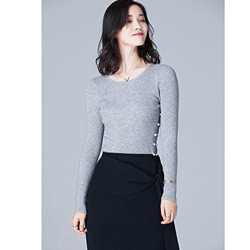Gaolim maglia lavorata a maglia in autunno e inverno testa a maniche lunghe perla di colore solido maglietta maglia ragazza, grigio-argento,s