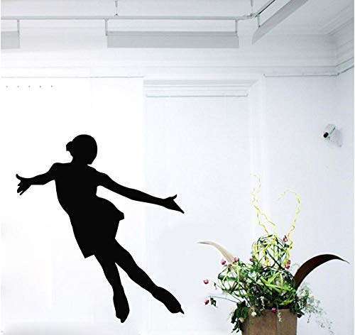 Hjtktt Skate Wandtattoo Mädchen Eiskunstlauf Sport Applique Gym Indoor Vinyl Wand Kinderzimmer 97 * 84Cm