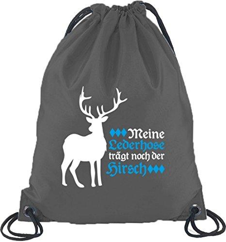 Turnbeutel Rucksack Sport Beutel mit Meine Lederhose trägt noch der Hirsch Motiv, Größe: onesize,Dunkelgrau (Halloween Lederhosen)