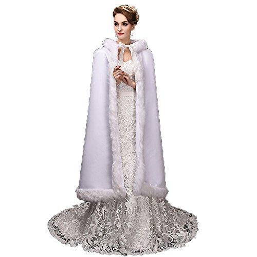 Noriviiq Damen Langes Weiß Faux Pelz Hochzeit Umhang mit Kapuze Winter Für Braut Wraps Cape