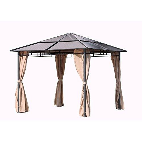 VARILANDO stylischer Pavillon mit festem Polycarbonat-Dach Gartenpavillon Party-Pavillon Party-Zelt