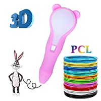 3D Pen with Cartoon Design,3D Printing Pen with 1.75mm PLA Filament Pack, USB Rechargeable,Low Temperature