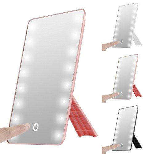 Faltbare LED beleuchteter Kosmetikspiegel mit Licht, SOONHUA Smart Touch Hinterbauständer 16LED beleuchteter Kosmetikspiegel Make-up...
