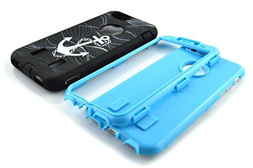 meaci (TM) Coque pour iPhone 6Plus 14cm cas 3en 1Combo hybride High Impact Corps ArmorBox Coque en silicone et PC Coque de protection rigide avec sauvetage Anchor Luxe Imprimé Ancre
