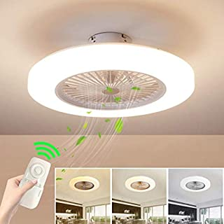 HGW Ceiling Fan with Lighting, Fan Ceiling Fan LED Light, Adjustable Wind Speed, Dimmable Remote Control, 36W Modern LED Ceiling Light, Restaurant Bedroom Color Optional,White