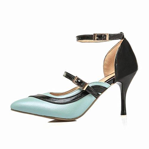 Mee Shoes Damen modern reizvoll spitz ankle strap Kitten-Heel Trichterabsatz Schnalle Knöchelriemchen Pumps Blau