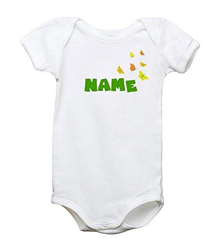 Motiv-Babystrampler individuell mit Wunschnamen bedruckt - 100% Bio-Baumwolle, Größe:6-12 Monate (Bio-baby-body Butterfly)