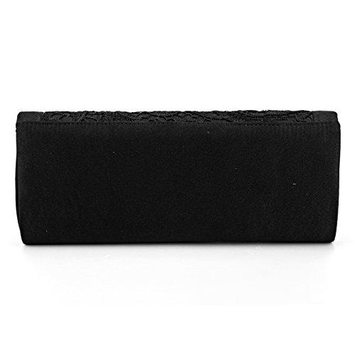 Abendtasche Brauttasche mit Strasse Spitze Satin Ketten Clutch Bag Bling? schwarz
