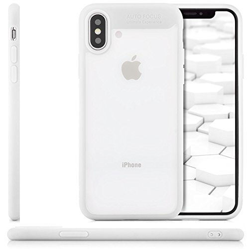 Coque iPhone X - Housse [zanasta] Etui Bumper Protection en TPU Silicone Gel Clair Crystal Cover Transparent-Rouge Transparent-Blanc
