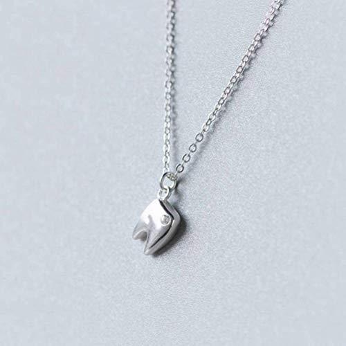 katylen - necklace 925 Silber Halskette Anhänger Weibliche Mode Persönlichkeit Zähne Diamant Halskette Kurze Schlüsselbein Kette, S925 Silver Set Chain