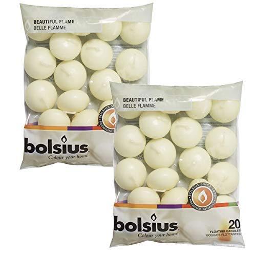 Bolsius - Juego DE 40 Velas flotantes sin Aroma, Color Marfil -...