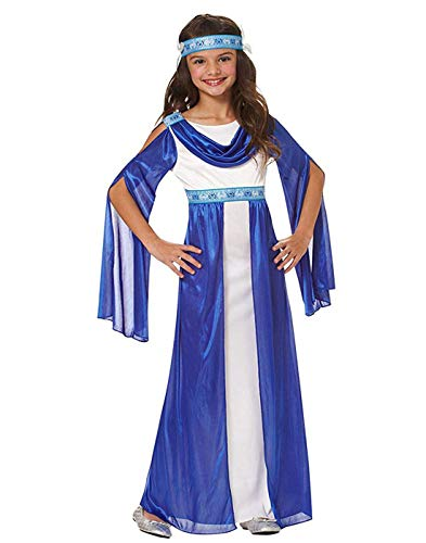 Goddessey Greek Empress Girls Roman Blue Toga Halloween Costume-S - Goddessey Kostüm