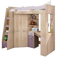 Hochbett/Etagenbett/Entresole – alle in einer links Ablesen Treppen – Kinder Möbel Set. Bett, Kleiderschrank, Regal, Schreibtisch Sonoma Oak - Purple preisvergleich bei kinderzimmerdekopreise.eu