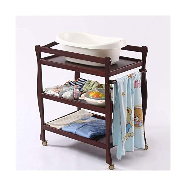 Baby Changing Table Universal with Pad, 3-Shelf Mobile Diaper Station Dresser, Wood Toddler Nursery Organizer GUYUE Silent caster with brake. Safety rails enclose all four sides of the changing area Strong and sturdy wood construction: Pine + solid wood paint free board. 3