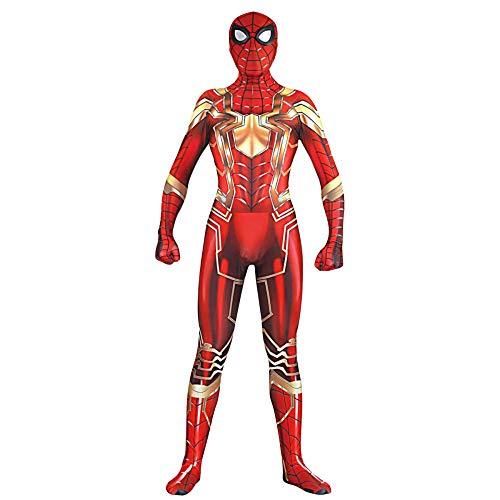 ZYFDFZ Neue Spiderman Kostüm Rollenspiel Bodysuit Jumpsuits Cosplay Kostüm Halloween Weihnachten Maskerade Kostüm Requisiten Cosplay (Farbe : Gold, größe : S)