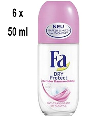 "6 x FA Women Deo Roll-on ""Dry Protect\"" Duft der Baumwollblüte - 50 ml"