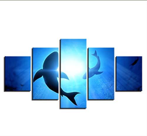 dsfytrew Kein Rahmen Leinwand Gemälde Wohnkultur Hd Drucke Bilder 5 Stücke Abstrakte Blue Ocean Shark Seascape Poster Wohnzimmer Wandkunst