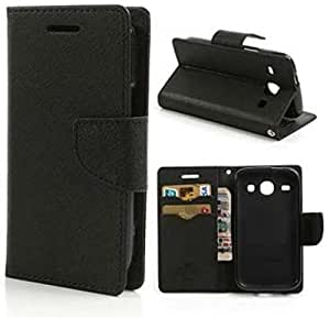Samsung Galaxy J3 Mercury Dairy Style Flip Cover by Cover Wala - Black