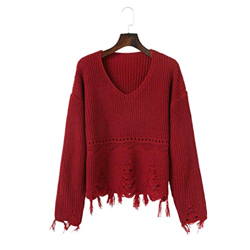 AIMEE7 Femmes Solide à Manches Longues à Tricoter Chaud Chandail Gland Pull Tops Blouse Rouge