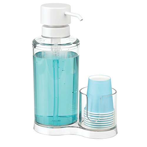 mDesign Mundwasser Spender mit Becherhalter – Dispenser aus Kunststoff für Mundspülung inkl. 8 Einwegbecher – Badzubehör zur Mundhygiene für den Waschtisch – durchsichtig und mattweiss