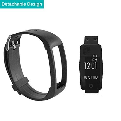 YAMAY® HR3 Fitness Tracker mit Pulsmesser Bluetooth Fitness Activität Tracker Schrittzähler Wasserdicht IP67 Armbanduhr mit Herzfrequenz / Schlafanalyse/Kalorienzähler/SMS SNS Wecker Vibration für Android und IOS Handys - 3