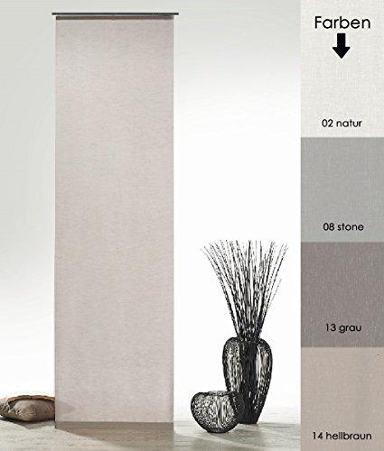 fashion and joy Flächenvorhang Natur Batist Optik inkl. Zubehör HxB 245x60 cm in Stone - Schiebegardine einfarbig matt Stein Natural Chic Gardine Typ410