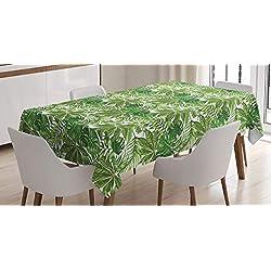ABAKUHAUS Feuille De Palmier Nappe, Feuillage Jungle Eco, Résistant aux Taches avec Impression à Pointe de Technologie, 140 x 200 cm, Vert Olive Vert Blanc