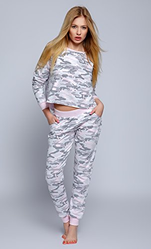 SENSIS hochwertiger Militär-Schlafanzug Overall oder Shorty im trendigen Armee-Muster - made in EU Schlafanzug - Rosa/Militär