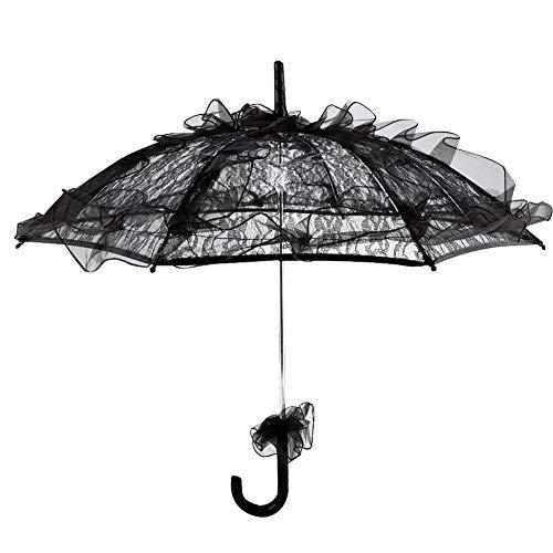 Haofy Aufwändige Spitze Regenschirm Sonnenschirm, Schwarze Farbe Spitze -