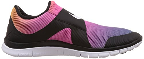 Nike Free Socfly SD mixte adulte, toile, sneaker low Black/White-Pink Flash-Tr Yllw