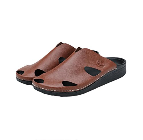 LXXAMens Été Plage Avec Un Grand Soutien De La Voûte Plantaire Sandales Orthétique Cuir Véritable Homme Slipper Chaussures De Randonnée Brown