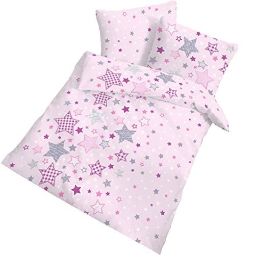 STERNE Mädchen Bettwäsche Kinderbettwäsche 100 % Baumwolle · Stars & Sternchen · rosa lila grau - Bettbezug 100x135 + Kissenbezug 40x60 - hergestellt in Deutschland · Biber / Flanell