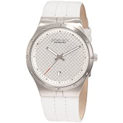 Johan Eric Skive Men's Quartz Watch with Silver Dial Analogue Display and White Leather Strap JE3001-04-001