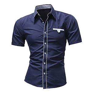 Luckycat Männer Hemd Art und Weise Normallack männliches zufälliges langes Hülsen Hemd Mode 2018