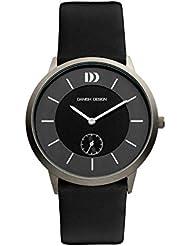 Danish Design IQ12Q958 Titanium Case Black and Gray Dial Leather Band Mens Watch