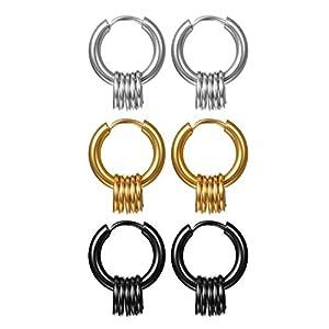 Aroncent 3 Paar Creolen Set Edelstahl Ohrringe mit klein Ring Kreis Huggie Ohr Piercing für Herren Damen, Schwarz Gold Silber, Durchmesser 15mm/17mm/19mm