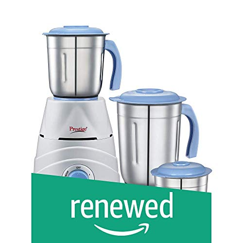 (Renewed) Prestige Tez (550 Watt) Mixer Grinder with 3 Stainless Steel Jars, White and Blue