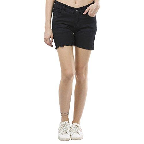 Estrolo Black Frayed Hem Women's Shorts