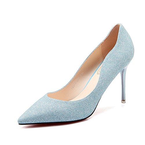 Damen Pumps Pailette Slip On Spitze Stilettos Einfache Aufführungsschuhe Hellblau