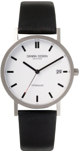Danish Design Women's 34mm Black Calfskin Band Titanium Case Quartz White Dial Analog Watch IQ14Q323