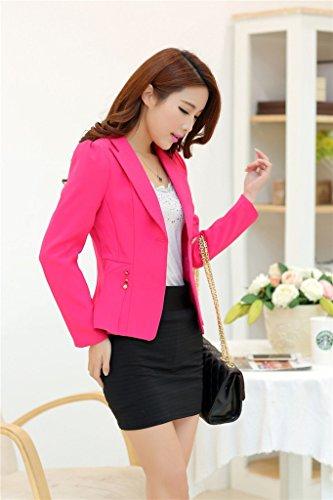 Laozan Blazer Veste Tailleur Femme Costume Loisir Single Bouton Coupe Ajustée Blouse Rose