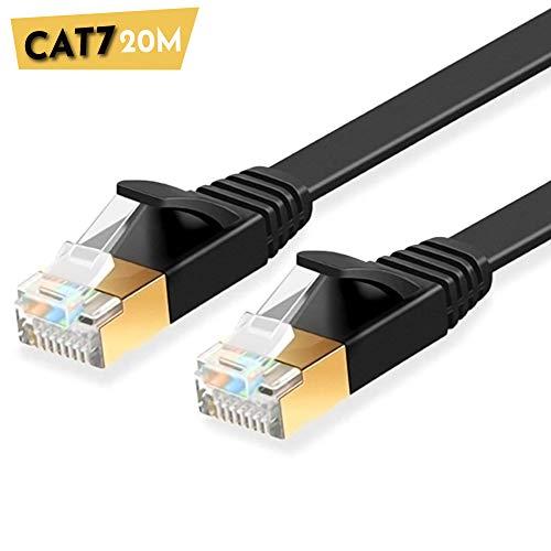 ULTRICS Câble Ethernet 20 Mètres, Haute Vitesse 10Gbps STP 600MHz Plat Cable Internet, Cat7 RJ45 Fiche Plaquée Or Câbler Réseau Compatible avec Routeur, Modem, Switch, TV Box, PC, Xbox, PS4 - Noir