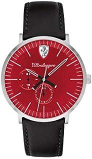 ساعة رجالية من سكودريا فيراري بمينا احمر وسوار جلدي اسود - 830567