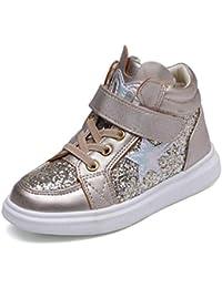 0778fa284 Zapatos Casuales de niños Zapatillas de Deporte Altas y Respirables para  niñas Lentejuelas Zapatos ...