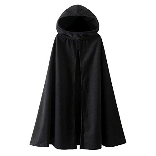 Là Vestmon Uomo donna mantello nero con cappuccio lungo mantello medievale costume Halloween festa Star Wars costume vampiro diavolo strega