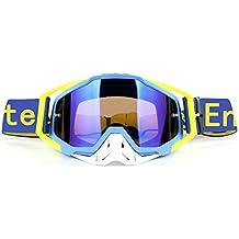 Gafas de ciclismo UV400 descenso Race motociclismo gafas de sol extraíbles guardia de la nariz desgaste con casco deportes al aire libre (AmarilloAzul)