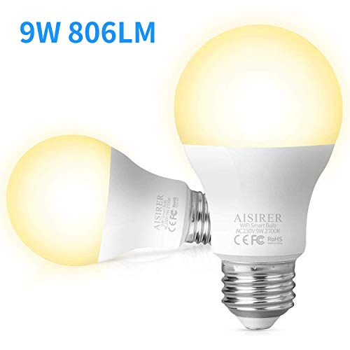 WiFi Smart Bulb AISIRER Alexa Light Bulbs No Hub Requried, E27 LED Bulb Compatible with Alexa Google Home IFTTT, Dimmable Warm Light 2700K, 9W,60W Equivalent, 806LM(2 Pack)
