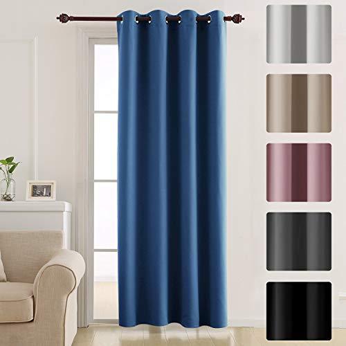 Deconovo tenda oscurante termica isolante con occhielli tende a pannello per finestre soggiorno interni 132x183 cm blu scuro un pannello