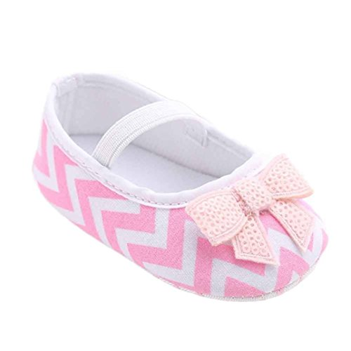 Fulltime® Baby Girl bowknot Stripe Chaussures Sneaker anti-dérapant souple Sole Toddler
